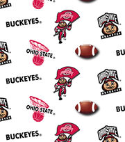 Ohio State Cotton Reversible Fabric-Allover White, , hi-res