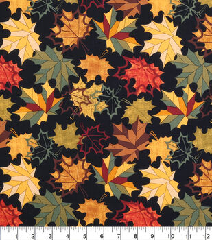 Harvest Cotton Fabric-Multi Pattern Leaves Large