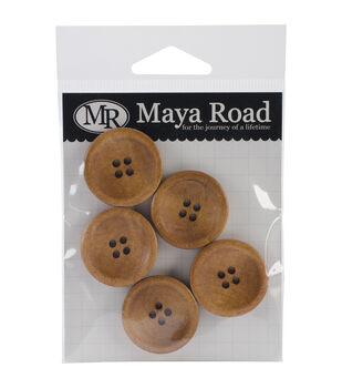 Maya Road Vintage Stained Wood Buttons 5/Pkg