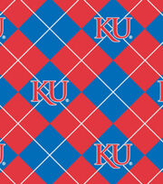 University of Kansas NCAA Argyle Fleece Fabric, , hi-res