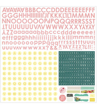 Basic Grey Tea Garden Alphabet Cardstock Stickers 12''x12''