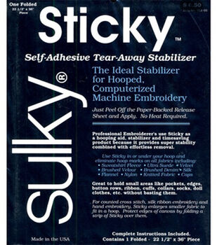 "Sulky Self Adhesive Tear Away Stabilizer-22-1/2""W x 1yd"