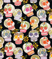 Alexander Henry Cotton Fabric-Calaveras Black/Glitter, , hi-res