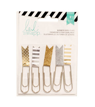 "Heidi Swapp Paper Flag Clips 2.5"" 5/Pkg-Gold/Silver"