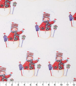 Keepsake Calico Holiday Cotton Fabric-Snowmen With Glitter All Over