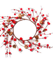 Blooming Holiday Berry & Pinecone Mini Wreath-Red, , hi-res