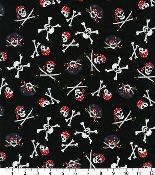Novelty Cotton Fabric-Pirate Skulls On Black