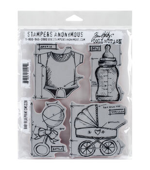 Stampers Anonymous Tim Holtz Baby Blueprint Cling Rubber Stamp Set