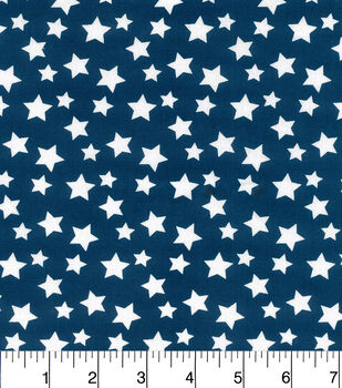 Nursery Cotton Fabric-Navy White Stars