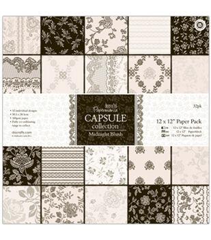 "Papermania Paper Pack 12""X12"" 32/Pkg-Midnight Blush"