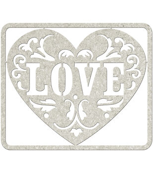 Fabscraps Love Die-Cut Gray Chipboard Word