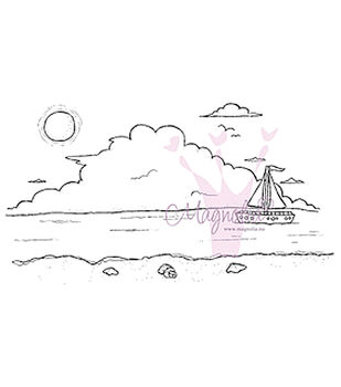 Magnolia Lazy Summer Days Ocean Background Cling Stamp