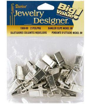 Darice Jewelry Designer 12.7x99.1x147.3mm Dangler Clips-21PK/Nickel