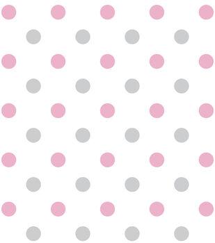 Nursery Fabric - Happy Dots Pink Flannel