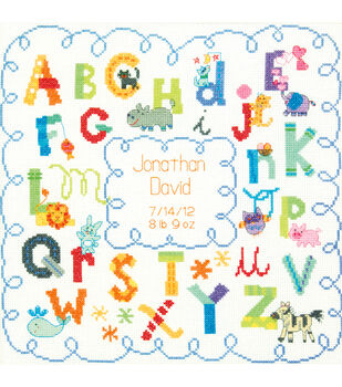 """Baby Hugs Alphabet Birth Record Counted Cross Stitch Kit-12""""X12"""" 14 Count"""