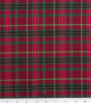 Homespun Cotton Fabric-Medium Plaid Red/Green