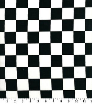 Novelty Cotton Fabric-Black/White Racing Check