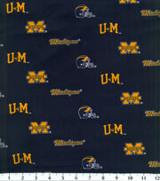 University of Michigan NCAA Herringbone Cotton Fabric, , hi-res