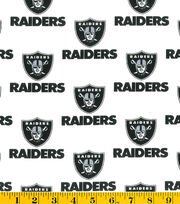 Oakland Raiders NFL White Cotton Fabric by Fabric Traditions, , hi-res