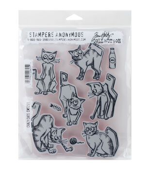 Stampers Anonymous® Tim Holtz® Cling Rubber Stamps-Crazy Cats