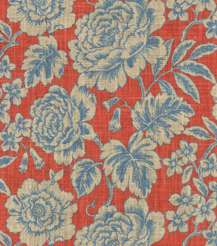 Waverly Floral Field Red Burlap