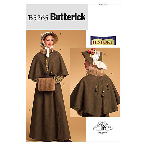 Victorian Dresses, Clothing: Patterns, Costumes, Custom Dresses Butterick - Pattern B5265 - Cape Skirt Bonnet and Fur Muff - Sizes 14-16 - Costumes - At JOANN Fabrics  Crafts $16.95 AT vintagedancer.com