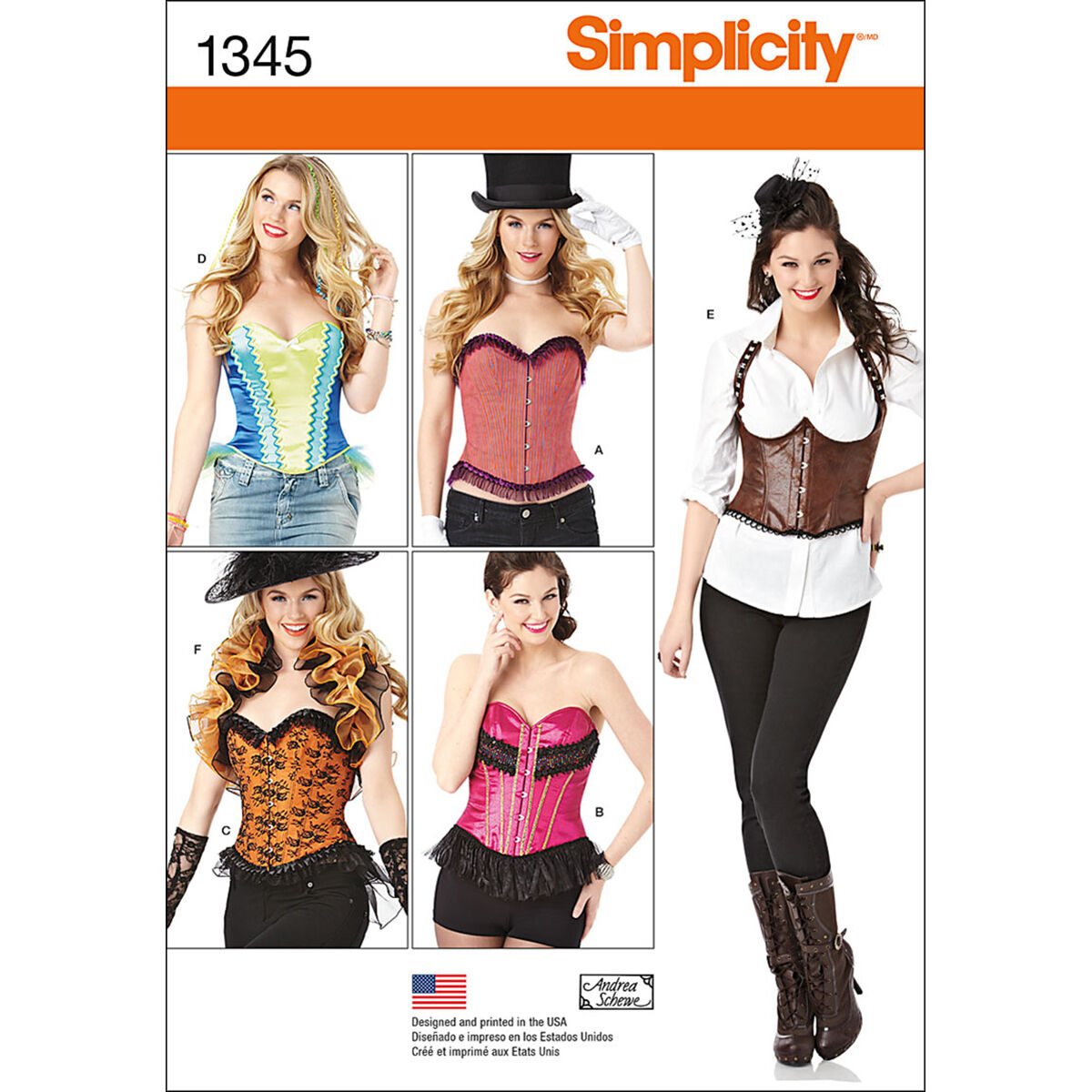 Steampunk Sewing Patterns- Dresses, Coats, Plus Sizes, Men's Patterns Simplicity - Pattern 1345 - Misses Corsets and Ruffled Shrug - Sizes 6-8-10-12 - Costumes - At JOANN Fabrics  Crafts $18.95 AT vintagedancer.com