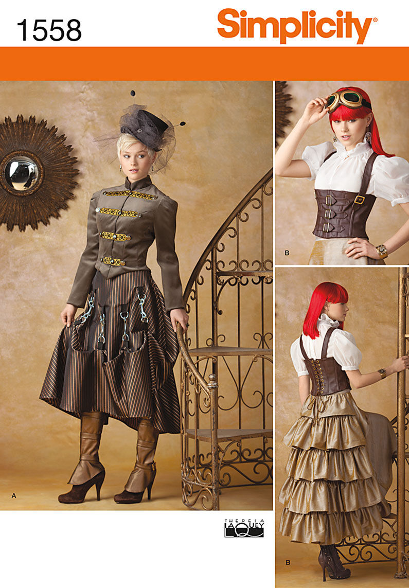 Steampunk Sewing Patterns- Dresses, Coats, Plus Sizes, Men's Patterns Simplicity - Pattern 1558 - Misses Steampunk Costume - Sizes 14-16-18-20 - Costumes - At JOANN Fabrics  Crafts $18.95 AT vintagedancer.com