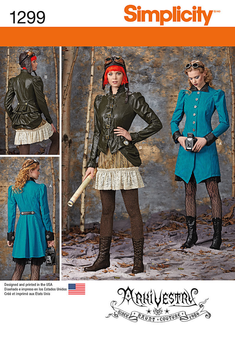 Steampunk Sewing Patterns- Dresses, Coats, Plus Sizes, Men's Patterns Simplicity - Pattern 1299 - Misses Costume Coat Jacket Bustle and Ruffled Skirts - Sizes 14-16-18-20 - Costumes - At JOANN Fabrics  Crafts $19.95 AT vintagedancer.com