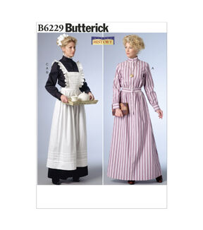 Vintage Aprons, Retro Aprons, Old Fashioned Aprons & Patterns Butterick - Pattern B6229 - Long Button-Down Dresses Full - Length Apron - Sizes 14-16-18-20-22 - Patterns - At JOANN Fabrics  Crafts $19.95 AT vintagedancer.com