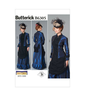 Guide to Victorian Civil War Costumes on a Budget Butterick - Pattern B6305 - Misses Costume - Victorian Top and Drape - Front Skirt - Sizes 8-10-12-14-16 - Patterns - At JOANN Fabrics  Crafts $19.95 AT vintagedancer.com
