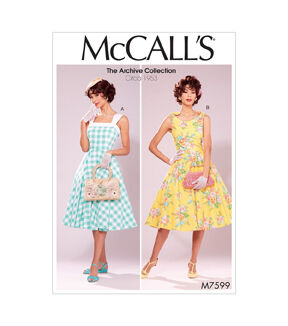 1960s – 70s Sewing Patterns- Dresses, Tops, Pants, Mens McCalls Pattern M7599 Misses Lined Fit  Flare Dresses with Petticoat - 6-8-10-12-14 $19.95 AT vintagedancer.com