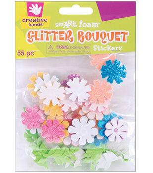 Fibrecraft Foam Stickers-55PK/Glitter Bouquet