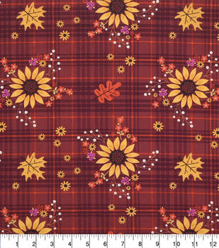 Harvest Cotton Fabric-Sunflowers On Plaid
