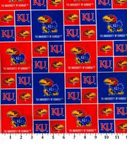 University of Kansas NCAA  Cotton Fabric, , hi-res