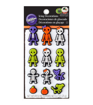 Wilton® Dot Matrix Icing Decorations 12/Pkg-Xray Skeleton