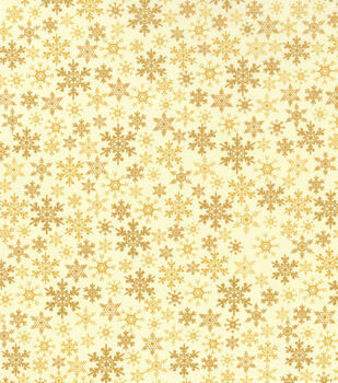 Holiday Inspirations Christmas Fabric-Flakes On Tan Metallic