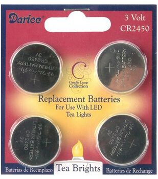 Darice 3V CR2450 Replacement Batteries for Welcome Candle Lamps-4pk