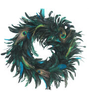 Blooming Holiday 20'' Feather Wreath-Blue, , hi-res