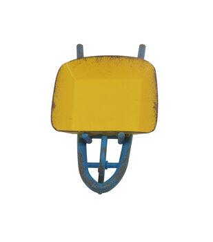 Fairy Garden Metal Wheelbarrow-Yellow