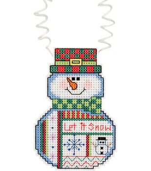 """Holiday Wizzers Snowman Let It Snow Counted Cross Stitch Kit-3""""X2-1/4"""" 14 Count"""