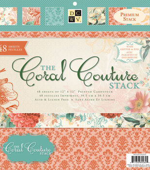 """DCWV 12""""x12"""" Premium Stack-Printed Coral Couture Stack"""