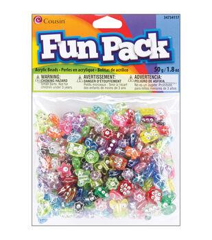 Fun Pack Pony Beads W/Rhinestone Mix 50 Grams/Pkg-Multi