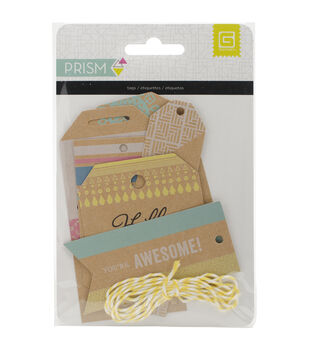 Basic Grey Prism Printed Kraft Tags