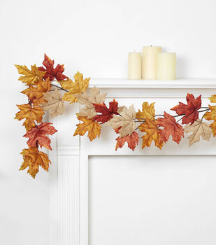 Blooming Autumn 66'' Maple Leaf Garland-Rust, Orange & Brown