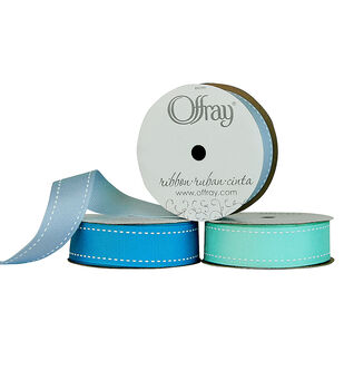 "Offray 7/8""x9' Stitches Grosgrain Ribbon"