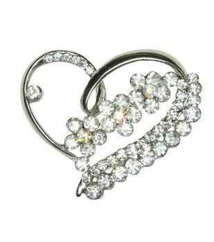 Laliberi Rhinestone Heart Gem Cluster Pin