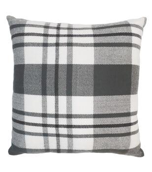 Art of Autumn Plaid Pillow-Gray & White
