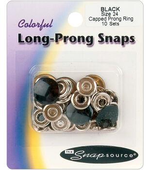 Capped Prong Ring Snap Sz 24-10 Sets/Pkg.-Black