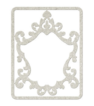 Fabscraps Ornate Frame Die-Cut Gray Chipboard Embellishments